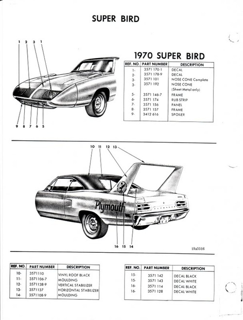 Product picture CHRYSLER PLYMOUTH 1970 SUPERBIRD PARTS CATALOGUE